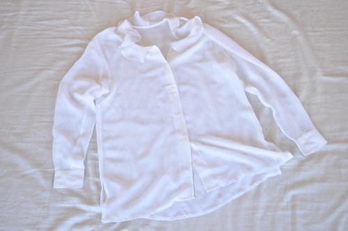 vintage sheer white ruffle blouse