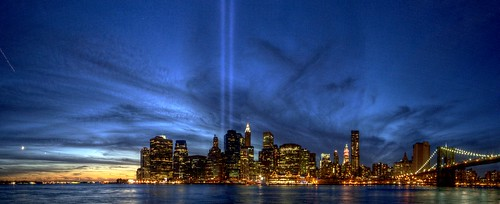 Lower Manhattan Panorama with the Tribute in lights