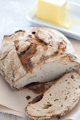 rustic homemade sourdough bread and butter