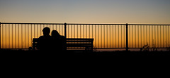 Clifton Silhouettes (71/365) (Chilli_A) Tags: park uk blue sunset red love canon project bench bristol eos couple view dusk gorge 365 railing hue avon clifton 2010 project365 400d