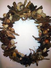 Handmade Wreath (TzoFeltedGood) Tags: handmade wreath handcrafted ξυλο χειροποιητο κοχυλια στεφανι
