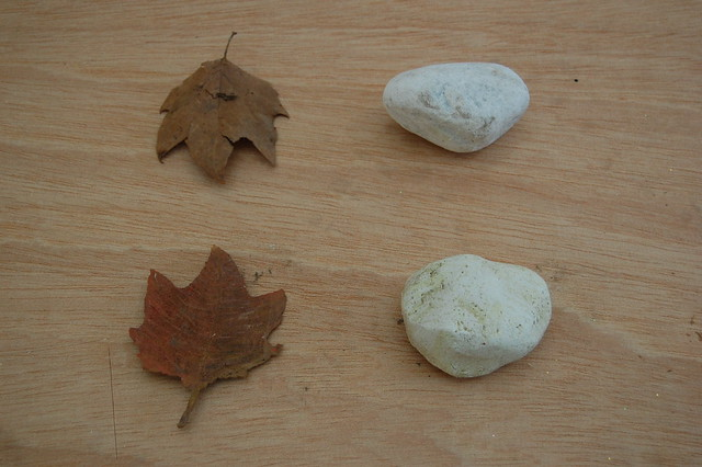 Styrofoam stone and leaf ready to be put in place
