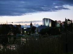 Helsinki central (BigWhitePelican) Tags: blue red clouds sunrise buildings finland helsinki sanomatalo finlandiahouse hoteltower fujifilmfinepixhs10