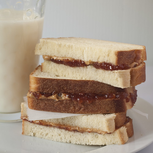 Sweet Milk White Bread made into peanut butter and jelly sandwiches