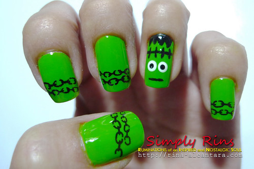 Nail Art Halloween Frankenstein 04