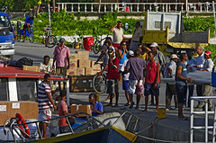 Descarregant la barca / Unloading a boat (SBA73) Tags: people port work puerto island nose holidays quiet gente harbour jetty working relaxing calm seychelles gent calma nas nariz trabajar unload ladigue treballar seychellois lapasse
