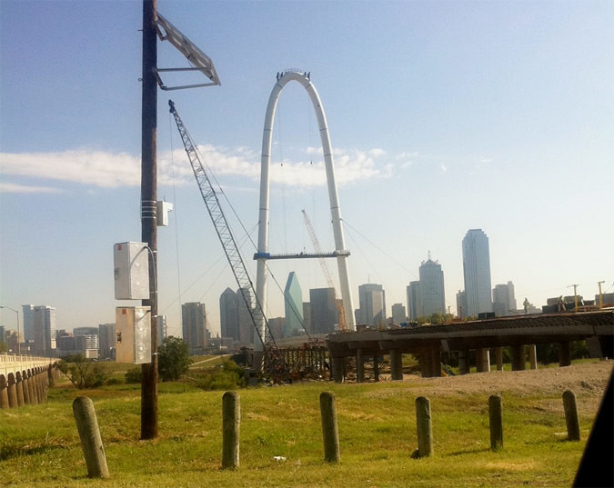 Margaret Hunt Hill Bridge in Dallas under construction.