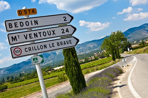 All roads lead to Ventoux. Photo: A road sign in Provence points the way to Mont Ventoux. Photo: Hotel Crillon le Brave