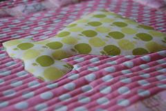 Mini-quilt - zoom (Sewing Under Rainbow) Tags: doll dress quilt mini polka dot apples rabbits