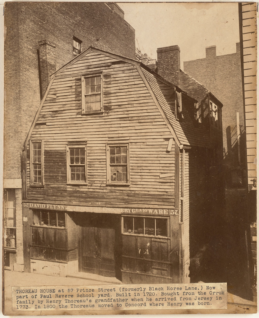 Thoreau House at 57 Prince Street (formerly Black Horse Lane). Nowpart of Paul Revere School yard. Built in 1720. Bought from the Orrok family by Henry Thoreau's grandfather when he arrived from Jerse