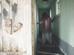 Dreamless dorms, ticking clock (bellydnce1103) Tags: red house selfportrait green abandoned girl wall barn project hair illinois decay coat hallway 365 rockford belvidere