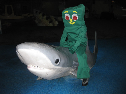 Gumby Riding a Shark - Halloween Night Dive