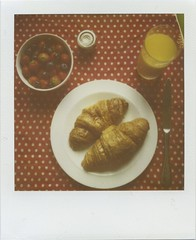 Birthday Brunch (Lizzie Staley) Tags: red orange white film breakfast polaroid lunch sx70 strawberry juice strawberries polka dot 600 croissant jam expired blueberries roidweek2010fall