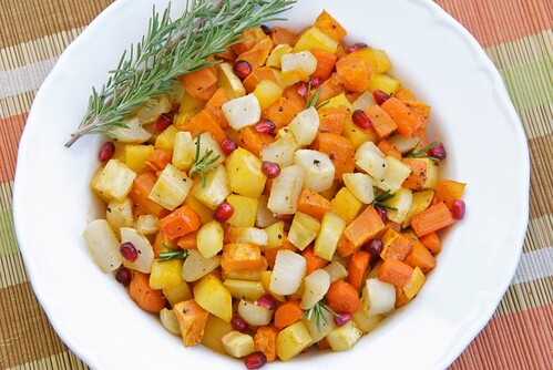 roasted root vegetables with pomegranate molasses and rosemary