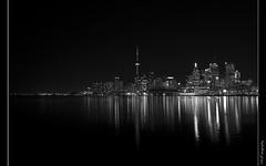 Toronto's Night (Karl) Tags: toronto reflection classic night blackwhite lakeshore moonset flickrcolour lakeofontario cheerybeach colourfulgrange