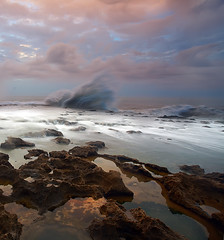 not signed (Feo David) Tags: ocean africa sea water clouds canon eos rocks long exposure waves morocco maroc marocco 5d splash fill rabat afrique sal
