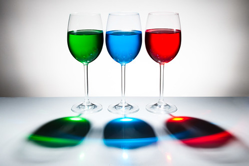 Playing with food color - 3 glasses