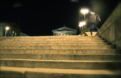 "Running up the ""Rocky Steps"" at midnight"