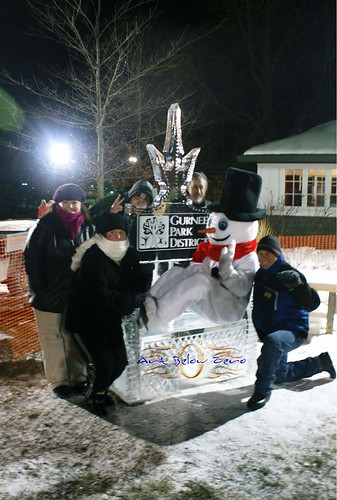 Awesome Crew in Gurnee Park District on throne ice sculpture