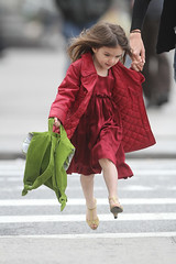 Running (serra.wakefield) Tags: newyorkcity red usa newyork green walking highheels action candid fulllength backpack holdinghands reddress redcoat goldshoes peeptoeshoes suricruise quiltedcoat