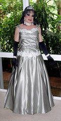 Satin Gown (Christine Fantasy) Tags: glamour cd makeup christine gloves transvestite gown elegant satin transsexual shemale