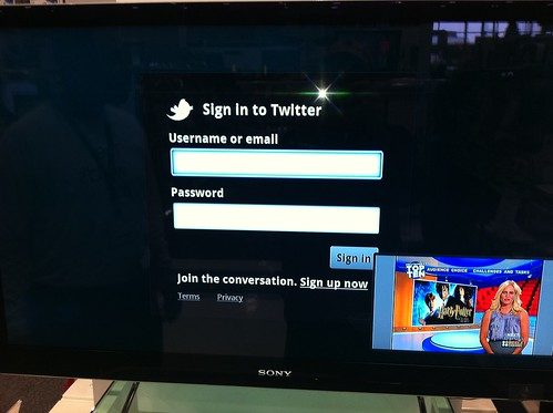 Google TV Twitter logon