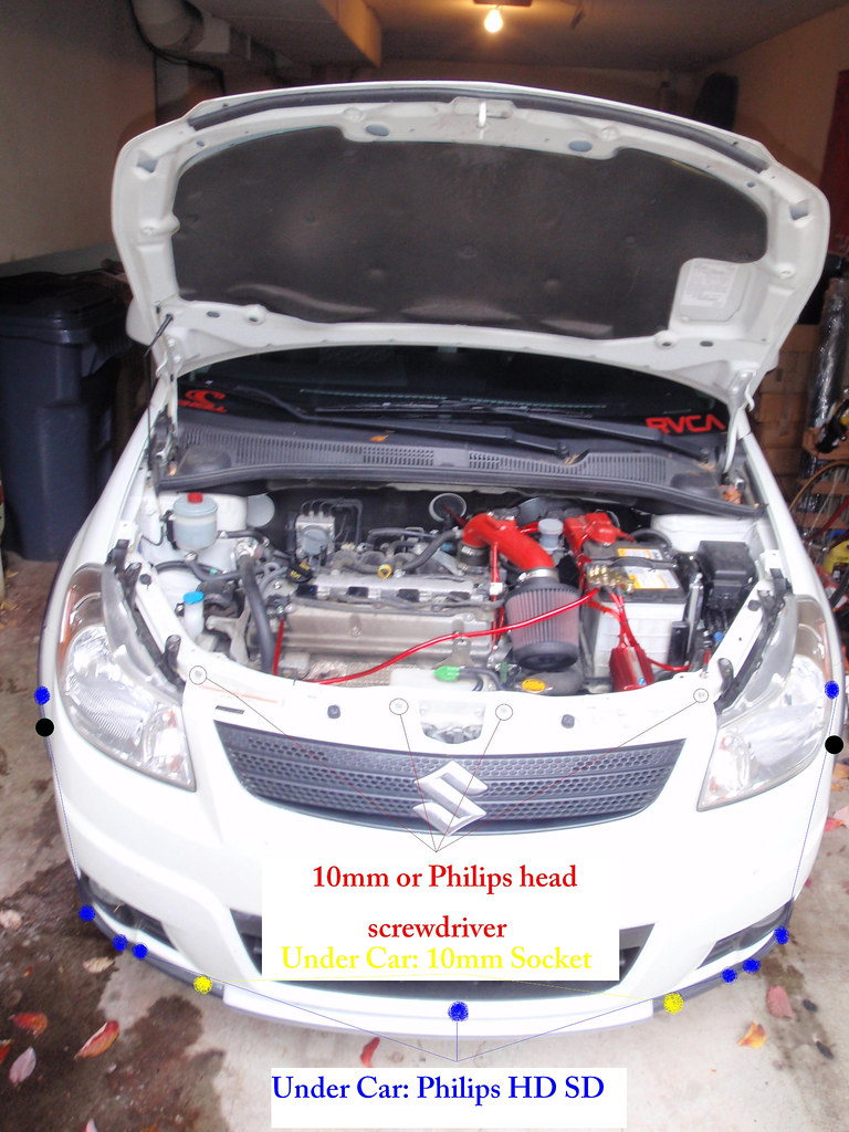 So to jump right into it the first step is to remove the front bumper.  There are four bolts right above the grill(Outlined in Red) size 10mm or  Philips head ...