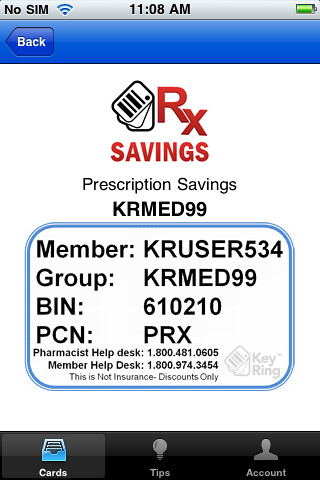 iphone key ring savings card