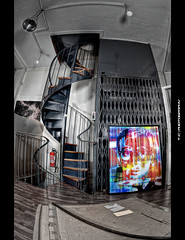 Andy's elevator (iPh4n70M) Tags: paris france andy colors stairs painting out photography photo nikon paint photographer photographie cut elevator exhibit galerie exhibition peinture fisheye exposition photograph tc saturation warhol masters nikkor 16mm vernissage casas escalier hdr olivier selective ascenseur peintres photographe fmr 1xp 1raw d700 tcphotography ph4n70m iph4n70m birene tcphotographie