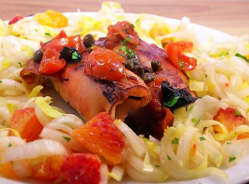 calamari ripieni al riso venere, agrumi e sedano