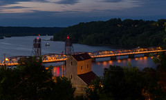 Historic Stillwater (Paul Domsten) Tags: stillwater minnesota stcroixriver longexposure bluehour pentax river bridge stillwaterliftbridge clouds