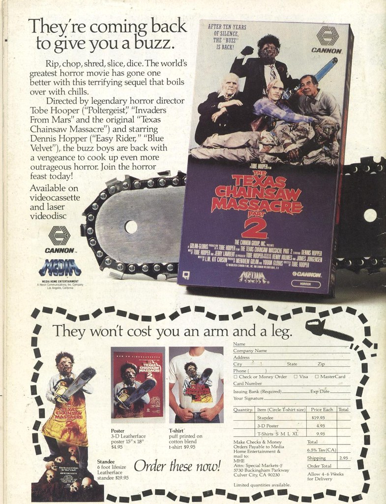 1987 ad for Texas Chainsaw Massacre Part 2 on VHS and Laserdisc