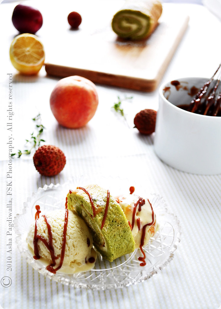 Matcha Swiss Roll with Roast Peach-Thyme and Lychee Ice creams