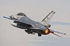 Dutch F-16 J-014 Depart Monday RIAT 2010 (PhoenixFlyer2008) Tags: dutch fighter general display military jet airshow f16 falcon fighting burner viper dynamics 2010 fairford volkel riat rnethaf