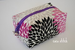 small cosmetic pouch - purple x grey (coco stitch) Tags: pink black grey leaf purple box small etsy cosmeticpouch andreavictoria cocostitch