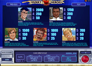 free Sneak a Peek Hunky Heroes slot mini symbol