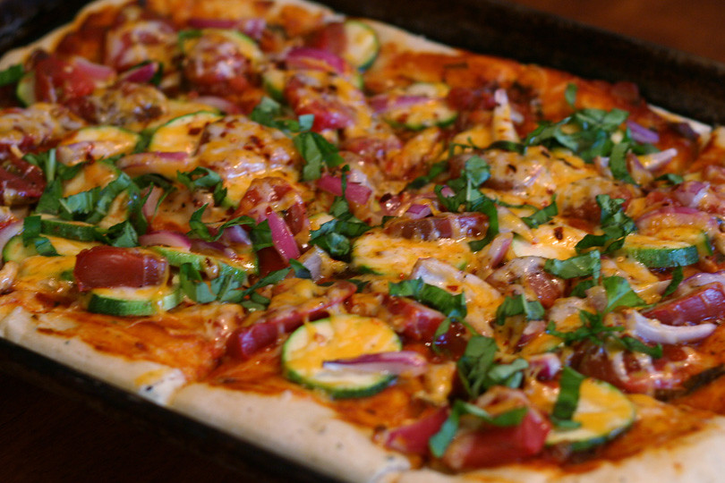 Tomato Zucchini Pizza