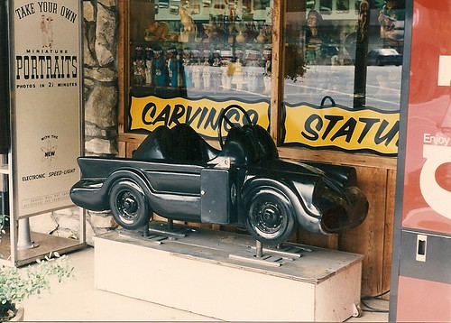 Batmobile storefront kiddie ride. Cherokee North carolina. May 1990. by Eddie from Chicago