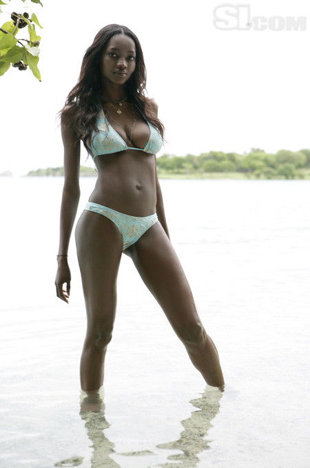 Fashion model Oluchi Onweagba poses in swimsuit