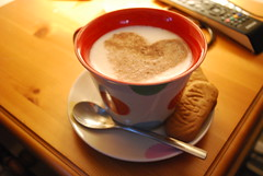 Coffee (Mo (bymikeoliver.com)) Tags: colour coffee dof heart spoon biscuit cappuccino bedsidetable