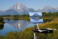 Unfinished Moran (MarvHansen) Tags: mountain reflection nature painting nikon tetons moran grandtetonnationalpark oxbowbend