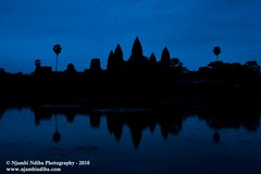 Sunrise at the Angkor Wat.