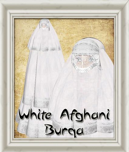 Shabby Chic White Afghani Burqa