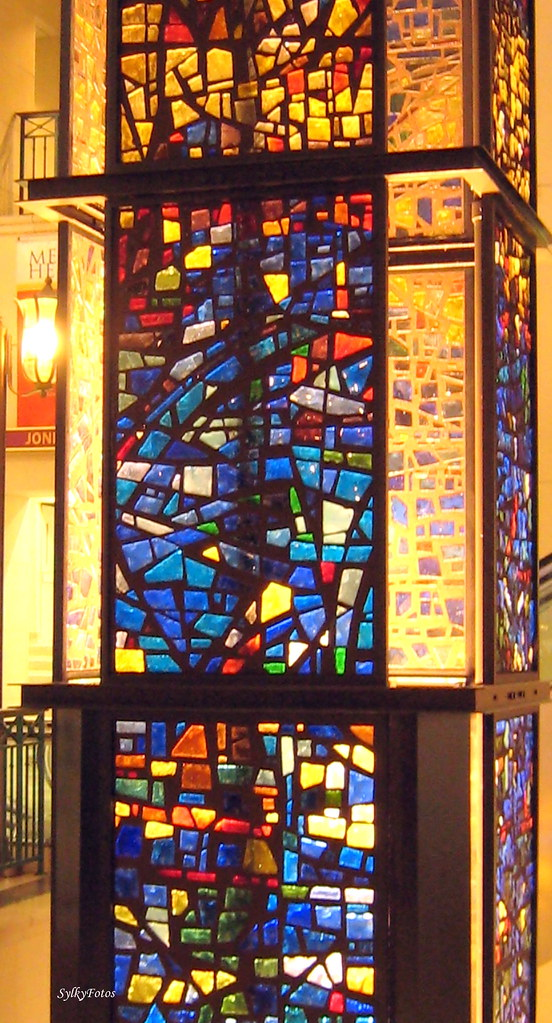 This stained glass tower in Hermann Memorial Hospital, Houston, Tx, delivers light to some that need it.