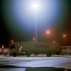 COOP (claus peder) Tags: 120 6x6 film night truck denmark kodak release cable mat 124g analogue 160vc portra yashica aarhus århus c41 yashinon