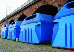 Random Shapes 1 - Big Blue things in Leeds (Tony Worrall Foto) Tags: city uk blue england urban strange photo image yorkshire north stock leeds shapes arches tony odd covered gb british boxes westyorkshire containers yorks kirkgate worrall 2011tonyworrall