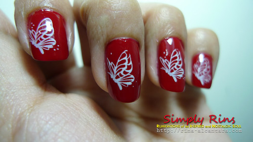 Nail Art Red Butterflies 05