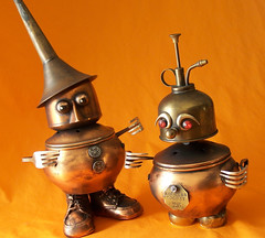 ERNEST AND LULU - Jewelry Box Robots - Reclaim2Fame (Reclaim2Fame) Tags: sculpture altered recycled assemblage mixedmedia copper foundobject jewelrybox recycledmaterial jewelryholder robotassemblage