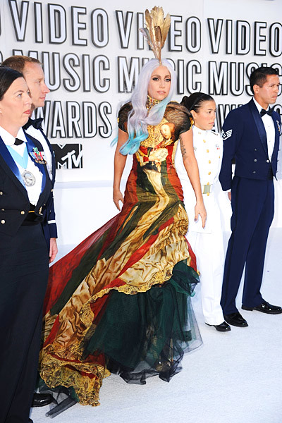 Lady Gaga Renaissance Golden Dress 2010 MTV Video Music Awards VMA red carpet