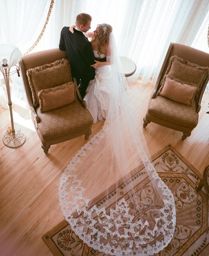Bridal Styles bride Michelle and her gorgeous custom lace cathedral veil